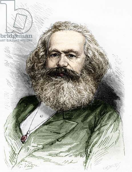 Portrait of Karl Marx (1818-1883), theorist of socialism and German revolutionary.