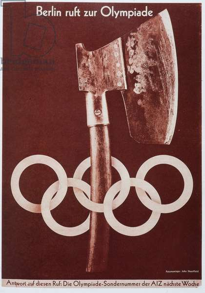 """Reproduction of the photomontage by Helmut Herzfeld, known as John Heartfield (1891-1968), published in """""""" AIZ"""" (Arbeiter Illustrierte Zeitung, German workers' newspaper denouncing Nazism): """"The Berlin Olympiads, the Handling of Hatchettes"""" in July 1936 (propaganda, anti-Nazism). Private Collection"""