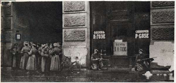 """Russian Revolution of 1917: civil war in the streets of Petrograd - soldiers defending the provisional government of Alexander Kerensky (Kerenski) keeping a telephonic office In """""""" the Mirror"""""""" 1917"""