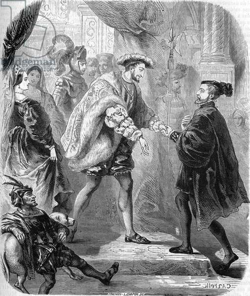 """Francois 1st, King of France (1494-1547) and Charles V (1500-1558) met at the Chateau de Chatellerault in January 1540. In """""""" Histoire populaire de la France"""""""", sd. circa 1885. Engraving."""