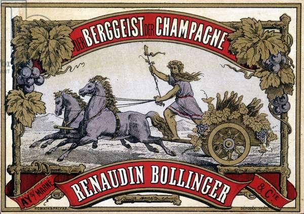 "Champagne label ""Renaudin Bollinger""""."