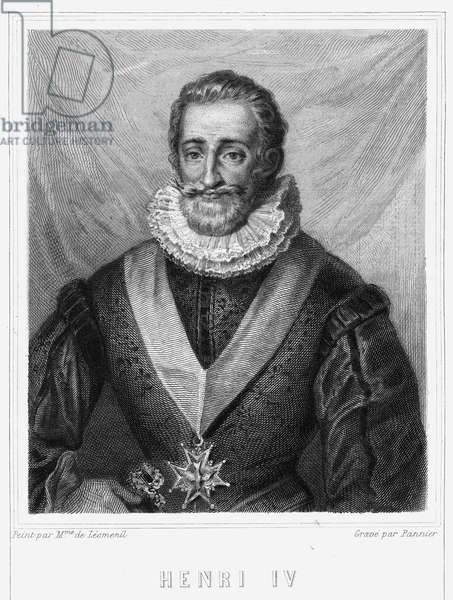 "Portrait of Henry IV (1553 - 1610), King of France - in ""Histoire des Français"""" by Lavallée, engraving, sd., 19th century."