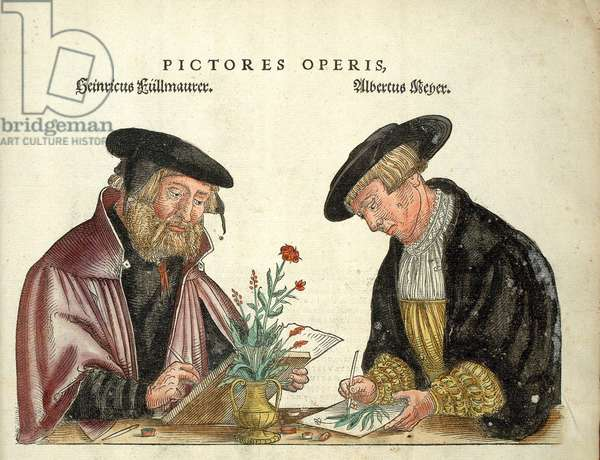"""2 artists who illustrated the book, Albert Meyer and Veit Rudolph Speckle, """""""" De Historia Stirpium commentarii insignia,..."""""""" by Leonhart Fuchs, 1542"""