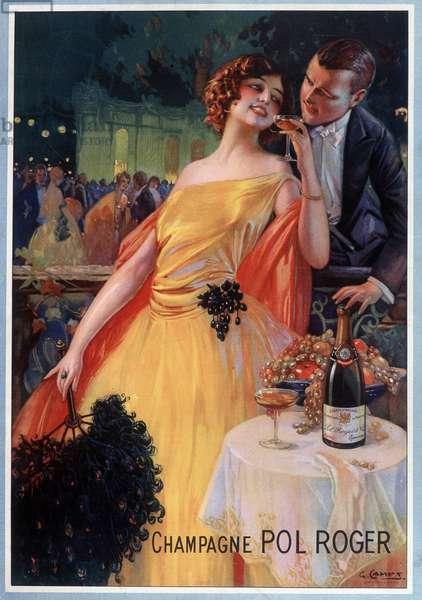 Advertising poster for champagne Pol Roger (chromolithograph)