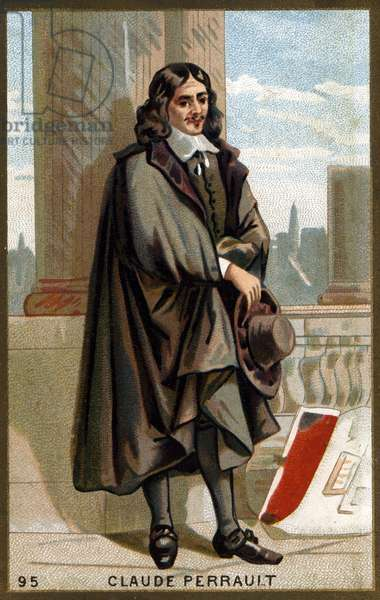 Portrait of Claude Perrault (1613 - 1688) French architect, physician and physicist. Chromolithography of the 19th century.