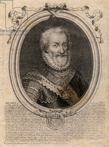 Portrait d'Henri IV (1553-1610) roi de France - Portrait of Henry IV (1553-1610) King of France -  engraving from 'Les Augustes Representations de tous les Rois de France depuis Pharamond jusqu'a LouisXIV', Paris, 1679 de Larmessin (family of engravers) (1600-1799)