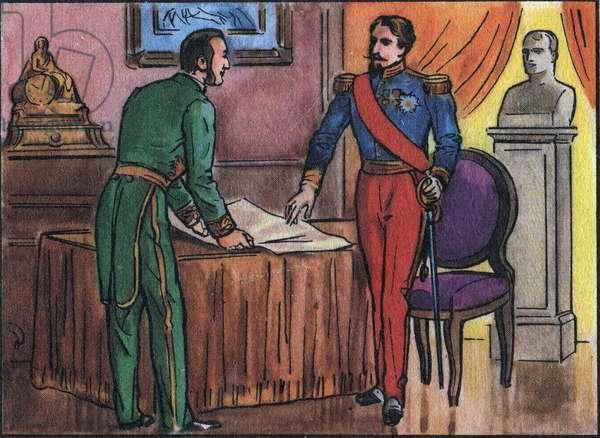 "Emperor Napoleon III (1808-1873) with Baron Georges Haussmann (1809-1891) Anonymous illustration in Collection des souverains et chefs d'état de France"". 20th century. Private collection."