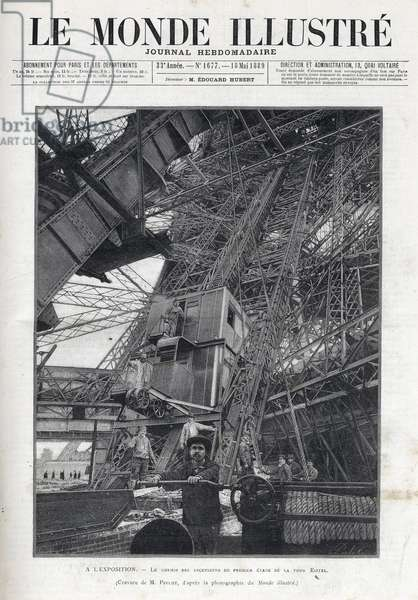 World Fair in Paris 1889 -The lifts path on the first floor of the Eiffel Tower - L'Exposition Universelle de Paris de 1889 - Le chemin des elevseurs du premier étage de l'Eiffel Tower - Le Monde Illustrée de 1889