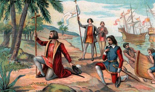The landing of Christopher Columbus (Christopher Columbus, Cristoforo Colombo, Cristobal Colon) (1451-1506) in the New World, 12 October 1492 Chromolithography Private collection