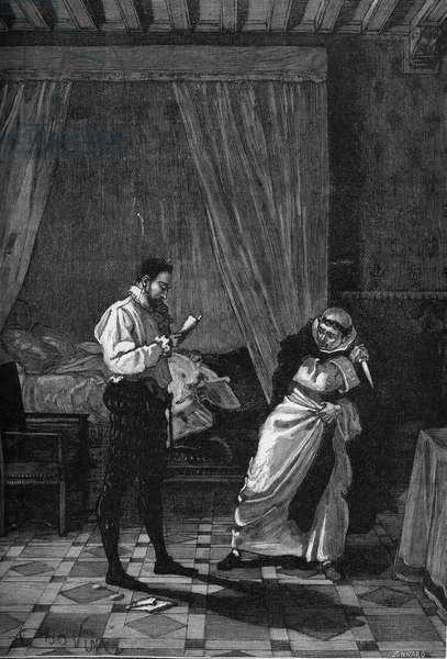 """Assassination of Henry III (August 1, 1589): King of France Henry III (1551-1589) reading a letter from the Count of Brenn while the monk Jacques Clement (1567-1589) pulls a knife from his sleeve. Engraving of the 19th century. In """"Histoire de France"""" by Jules Michelet, 1870."""