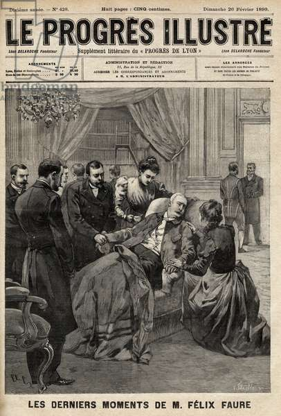 "Felix Faure, president of the French Republic, died in the salons of the Elysee in 1899. Cover of """" Le progresses illsutre de Lyon"""". Private collection."