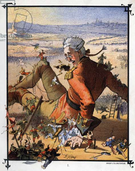 """Lemuel Gulliver is tied up by the Lilluputians. Illustration for """""""" Gulliver's Voyages """""""" by Jonathan Swift (1667-1745)"""