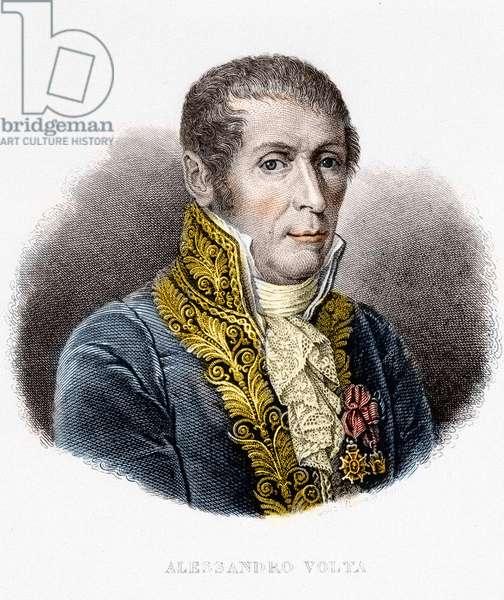 Portrat de Alessandro (Alexandre) Volta (1745 - 1827). Italian physicist, inventor of the electric battery. 19th century engraving