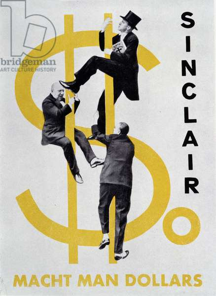 """Reproduction of the photomontage of Helmut Herzfeld known as John Heartfield (1891-1968) illustrating the cover of Upton Sinclair's """"So macht man dollars"""" in 1931. Men are climbing a giant dollar. Private Collection"""
