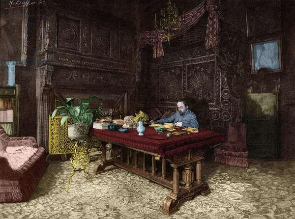 Emile Zola (1840-1902) in his office in Medan.