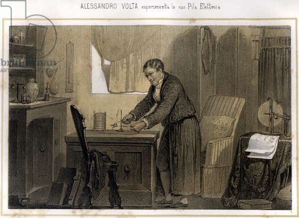 """Alexandre (Alessandro) Volta (1745 - 1827) and his experience on the electric battery - in """""""" Storia d'Italia"""""""", 1864"""