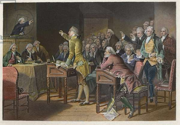 Stamp Act (Duties in American Colonies Act) - American Revolutionary leader Patrick Henry (1736-1799)  speaking out against the Stamp Act in the Virginia House of Burgesses in 1765 - Discours de Patrick Henry contre le Stamp Act en 1765 devant la Chambre des Bourgeois de Virginie