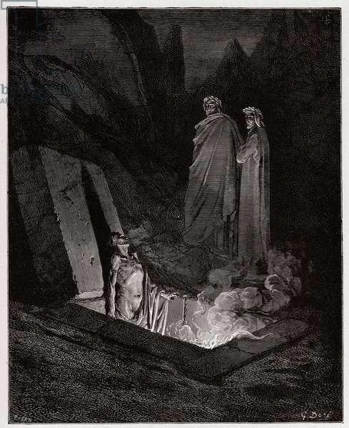 The Divine Comedy (La Divina Commedia, La Divine Comedie), Inferno, Canto 10: Farinata degli Uberti addresses Dante - by Dante Alighieri (1265-1321) - Illustration by Gustave Dore (1832-1883), 1885