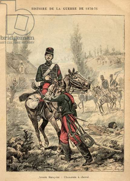 "French Armee: hunters a horse - Engraving by Maurice Pallandre in ""The fighters of 1870-71"""" by commander Leonce Rousset (1850-1938) - Franco-German War"""" (1870-1871) - Franco Prussian War - (Deutsch-Franzosischer Krieg)"