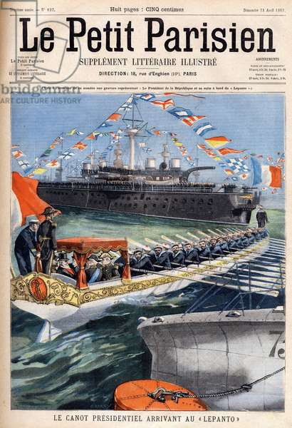 """The canoe of the French president Emile Loubet (1838-1929) arriving aboard the """"Lepanto"""""""". Engraving in """""""" Le Petit Parisien"""""""" on 21/04/1901."""