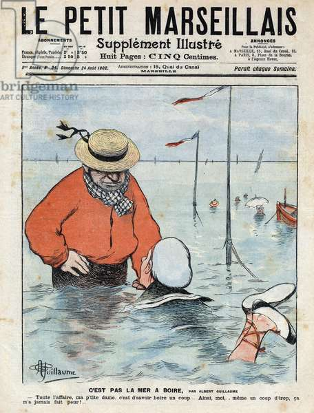 """Small comic scene depicting a lady learning to swim under the eye of another swimmer, drink lover. Illustration by Albert Guillaume from """""""" Le petit Marseillais"""""""" 24/08/1902"""