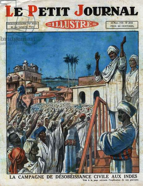 """The campaign of civil obedience in India: Mahatma Gandhi (Mohandas Karamchand Gandhi, 1869-1948) spiritual guide to India and the country's independence movement, raising the people of India against the British colonial Empire and Westernization. Engraving. One of the newspaper """""""" Le Petite Journal Illustrous"""""""", on 03/23/1930. Private collection."""
