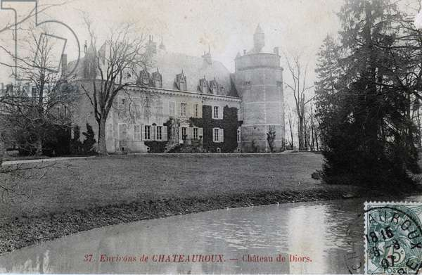 Chateau de Diors (16th century), around Chateauroux, Indre - 1910s, postcard. France, 20th century.