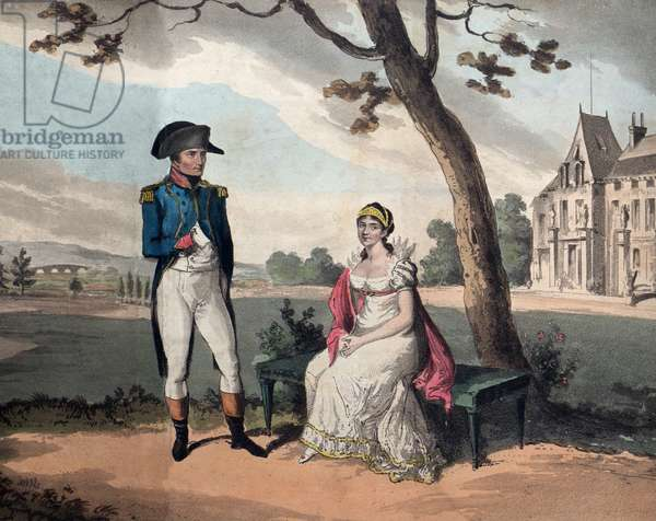 The Impress Josephine de Beauharnais (1763-1814) and Napoleon I in the Garden of Malmaison - engraving