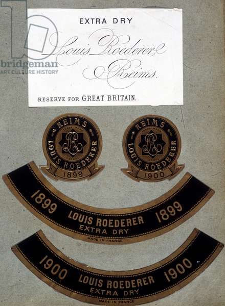 """Roederer's """"Extra Dry"""" labels for the year 1899 and the year 1900."""