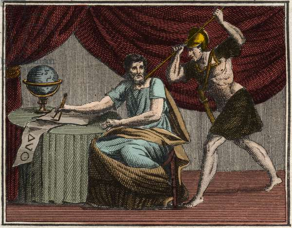 The death of Archimedes during the capture of Syracuse, Sicily, by Roman soldiers in 212 B.C.