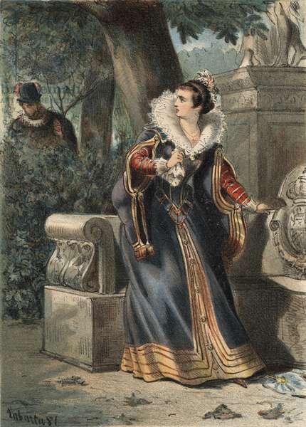 """Philip II of Spain (1527-1598) and Princess D'Eboli in a park in """"El Culto de la Hermosura"""""""" by Juan Justo Huguet, Molinas Hermanos editores, 1880 (volume 1) & 1881 (volume 2)."""
