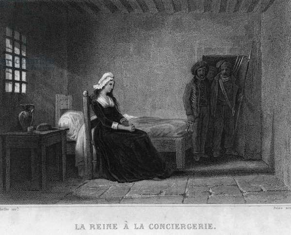 "Queen Marie Antoinette (Marie Antoinette) in the Concierge Prison - in ""French Revolution"""" by Thiers. 19th century"