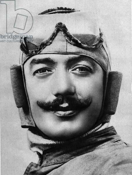 """Portrait of the French aviator Adolphe Pegoud (1889-1915). Photography In """""""" Readings for All"""""""" of October 1, 1913."""
