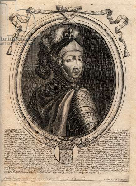 Portrait of Philip III of France, dit Philippe le Hardi (1245-1285) (dynasty of the Capetians) - Philip III called the Bold King of France - engraving from 'Les Augustes Representations de tous les Kings de France from Pharamond to LouisXIV', Paris, 1679 by Larmessin (family of engravers) (1600-1799)