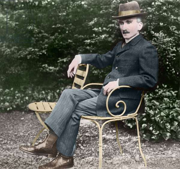 Henri Bergson (1859-1941), French philosopher, in his garden.