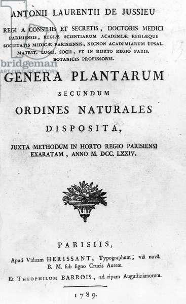 """Frontispice de """"Genera plantarum secundum ordines naturales disposita, juxta methodum in horto Regio Parisiensi exaratum anno 1774"""""""", 1789, by Antoine Laurent de Jussieu (1748-1836)"""