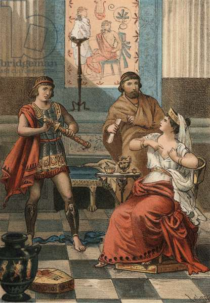 """Monime, Queen of the Pont asked under the order of her husband Mithridate VI Eupator that she be killed in order not to fall into the hands of the Romans (72 BC). in """"El Culto de la Hermosura"""" by Juan Justo Huguet, Molinas Hermanos editores, 1880 (volume 1) & 1881 (volume 2)."""