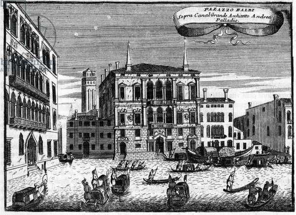 """Venice Italy: Palazzo Balbi has by architect Andrea Palladio in """""""" Singolarita di Venezia"""""""" by Vincenzo Coronelli (1650-1718)."""