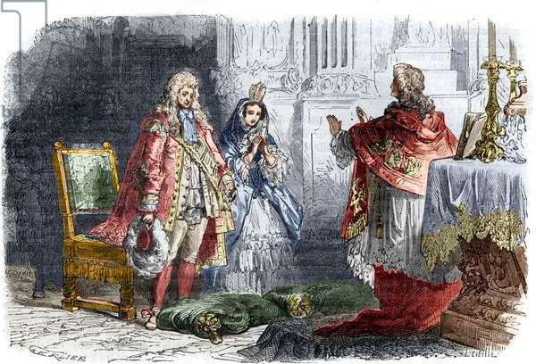 """Louis XIV marries Francoise d? Aubigne, Marquise de Maintenon (winter 1683/84) - Secret marriage of King Louis XIV (1638-1715) and Francoise d'Aubigne Marquise de Maintenon (Madame de Maintenon 1635-1719). Engraving in """"Histoire des Papes-Rois-Queen and Empereurs a travers les centuries"""""""" by Maurice Lachatre, 1863."""