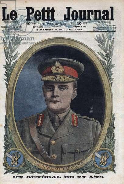 "First World War: portrait of General Bernard Cyril Freyberg (1889-1963), Neozelander military. One of ""Le petit journal"""" of July 8, 1917."