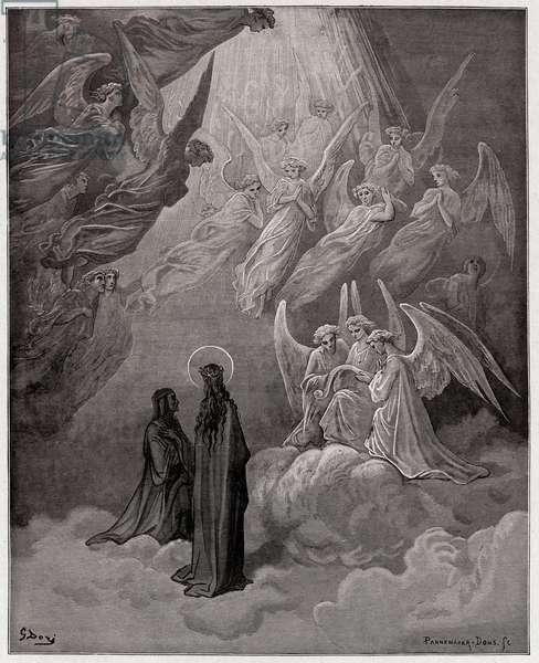 The Divine Comedy (La Divina Commedia, La Divine Comedie), Paradiso, Canto 20: The luminous souls sing - by Dante Alighieri (1265-1321) - Illustration by Gustave Dore (1832-1883), 1885