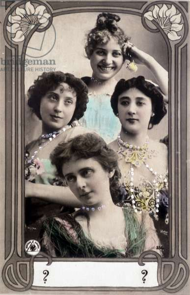 Portrait of Caroline (La Belle) Otero (1868-1965) - Otero and 3 other actresses at his time - Postcard sd debut 20th century