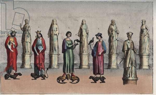 """William the Conqueror (William the Conquerant, William II of Normandy or William I of England, 1027-1087) - Matilda of Flanders (Mathilde of Flanders, 1031-1083) - William II of England (William Rufus or William the Red) (William the Roux, 1056-1100) - Robert Curthose (Robert II of Normandy known as Courteheuse (51-1134)) - William IV, Count of Toulouse ( William IV of Toulouse, died 1094) - engraving from """""""" Usi e Costumi di Tutti i i Popoli dell'Universo. Ovvero Storia del governo, delle leggi, della milizia, della religione di tutte le nazioni dai piu remoti tempi fino ai giorni nostri"""" 1856"""