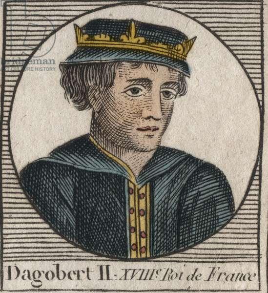 """Portrait of Dagobert II, King of the Francs from 711 to 716 - Dagobert II (676-679), King of Austrasia - engraving from """"Instruction sur l'Histoire de France"""" by Charles Constant Le Tellier 1821"""