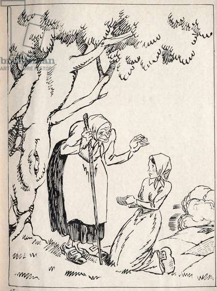 """A woman who can't have a child goes to see a witch. Anonymous engraving in """""""" La petite stroller"""""""", tale by Hans Christian Andersen (1805-1875), 1940."""