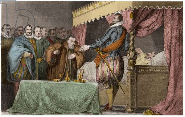 "Henry III (1551-1589), King of France, recognizes on his deathbed Henry of Navarre (Henry IV) as his legitime successor - Saint-Cloud, August 2, 1589 - Engraving of 1825 in ""Histoire de France represented by synoptic paintings dediee to the children of France and employee for their education"" - Steel engraving by Ambroise Tardieu"