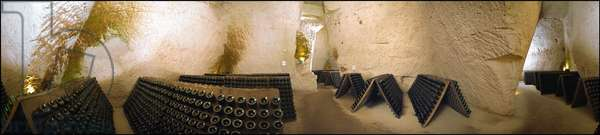 Champagne Taittinger cellar in Reims. Panoramic photography (360¡).