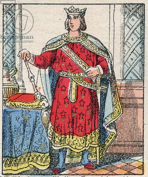 """Portrait of Philip III of France, dit Philippe le Hardi (1245-1285) (dynasty of the Capetians). engraving in """"Histoire de France from the most remote times to the present day"""""""" drawing by Jules Pacher. Patriotic imagery of Pont-Mousson. Late 19th century. Private collection."""