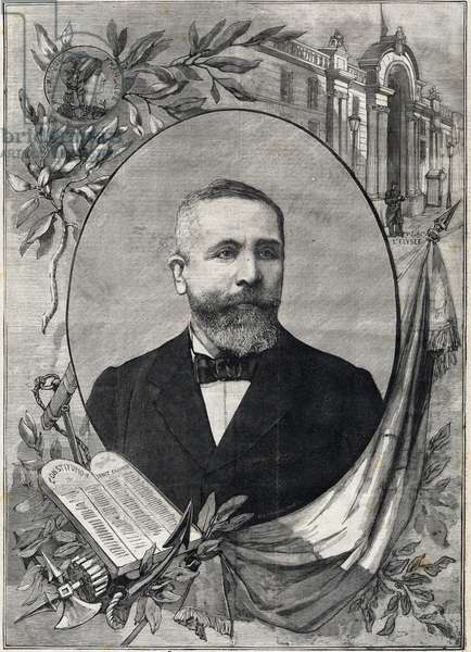 """Portrait of the new French president Emile Loubet (1838-1929) elected on 18 February 1899. Engraving. In """"The Little Parisien"""", 1899. Private collection."""