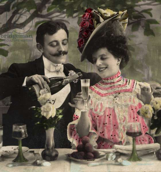 Couple of lovers, english Postcard - c. 1910 - Champagne -